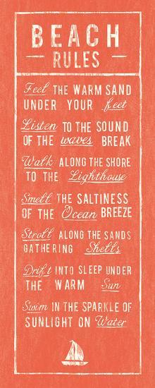 Beach Rules - Coral-The Vintage Collection-Art Print