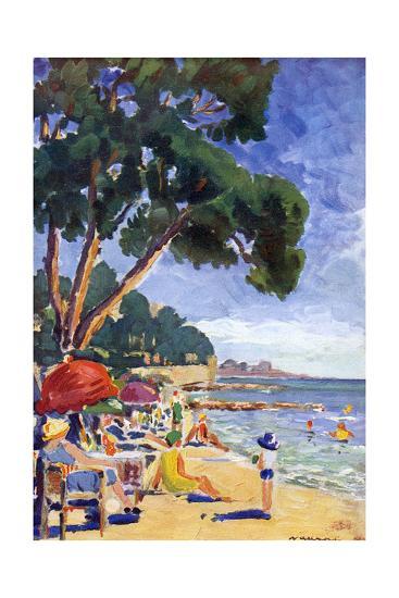 Beach Scene at Juan-Les-Pins--Giclee Print