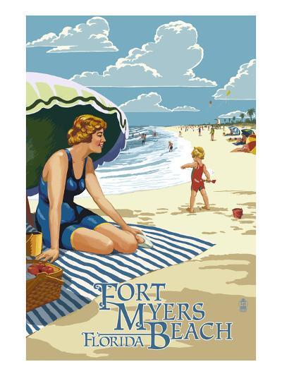Beach Scene - Fort Myers Beach, Florida-Lantern Press-Art Print
