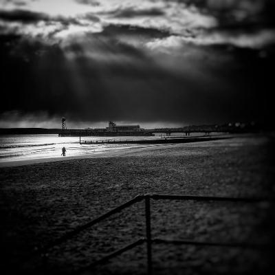 Beach Scene in England with Pier-Rory Garforth-Photographic Print