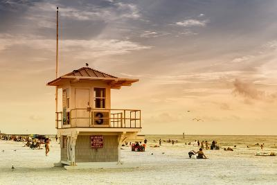 Beach Scene in Florida with a Life Guard Station-Philippe Hugonnard-Photographic Print
