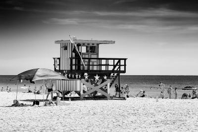 Beach Scene with a Life Guard Station - Miami Beach - Florida-Philippe Hugonnard-Photographic Print