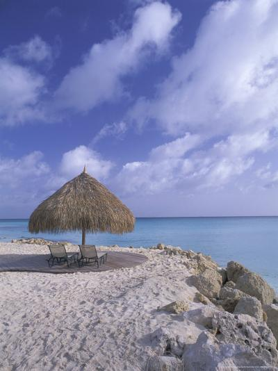 Beach Scene with Chairs and Thatch Awning-Bill Bachmann-Photographic Print