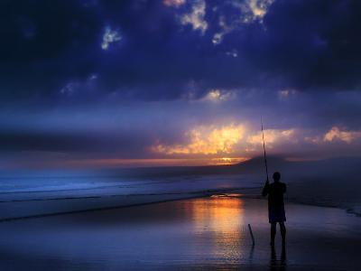 Beach Sea Seascae Sundown Fisherman-Grab My Art-Art Print