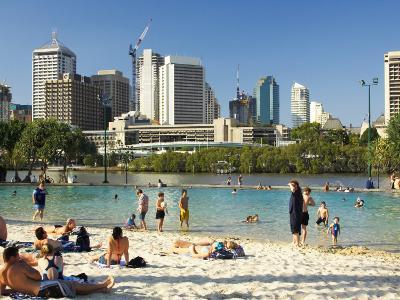 Beach, South Bank Parklands, Brisbane, Queensland, Australia-David Wall-Photographic Print