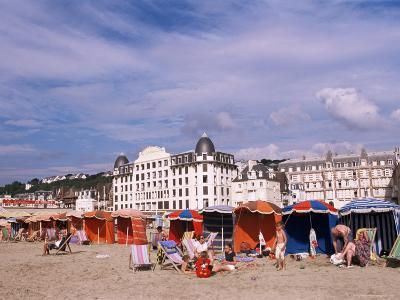 Beach Tents on the Beach, Trouville, Basse Normandie (Normandy), France-Guy Thouvenin-Photographic Print