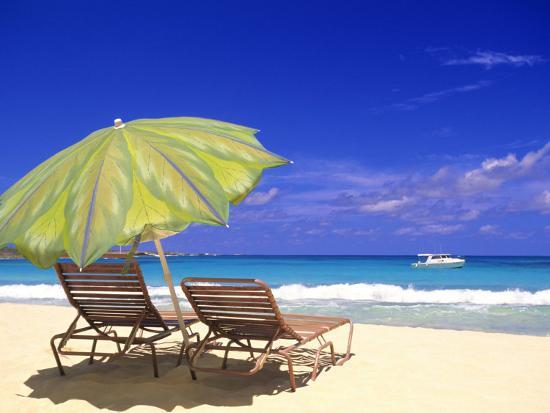 Beach Umbrella, Abaco, Bamahas-Michael DeFreitas-Photographic Print