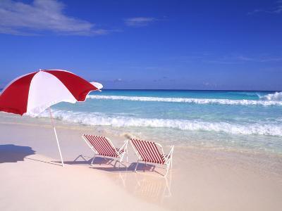 Beach Umbrella and Chairs, Caribbean-Bill Bachmann-Photographic Print