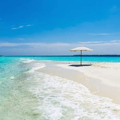Beach Umbrella in the Maldives-John Harper-Photographic Print