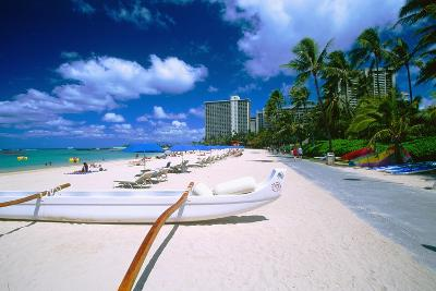 Beach Umbrellas and Outrigger Canoe-George Oze-Photographic Print