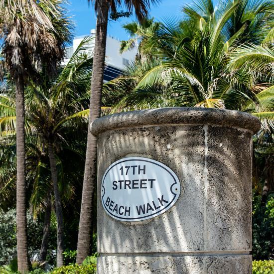 Beach Walk Sign - 17th Street - Miami Beach - Florida-Philippe Hugonnard-Photographic Print