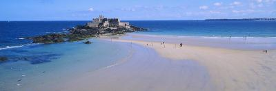 Beach with a Fort in the Background, St-Malo, Brittany, France--Photographic Print