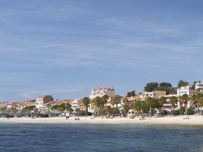 Beach with Palm Trees Along Coast in Bandol, Cote d'Azur, Var, France-Per Karlsson-Photographic Print