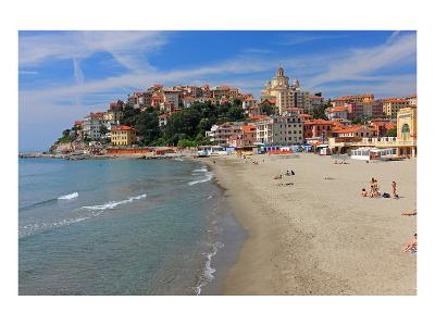 Beach with View of the Urban District of Porto Maurizio in Imperia, Liguria, Italy--Art Print