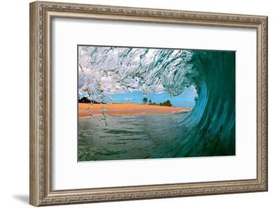 Beachbreak Tube - Hawaiian Breaking Wave - Hawaii-Paul Topp-Framed Art Print