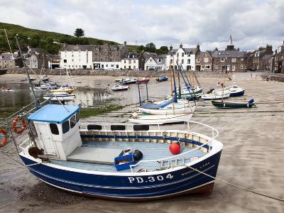 Beached Fishing Boat in the Harbour at Stonehaven, Aberdeenshire, Scotland, United Kingdom, Europe-Mark Sunderland-Photographic Print