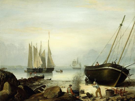 Beached for Repairs, Duncan's Point, Gloucester, 1848-Fitz Henry Lane-Giclee Print