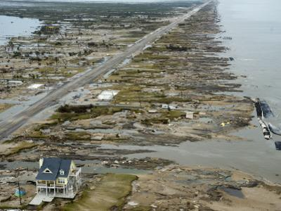 Beachfront Home Stands Among the Debris in Gilchrist, Texas after Hurricane Ike Hit the Area