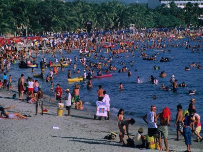 Beachgoers at El Rodadero in Seaside Suburb of Santa Marta During Holiday Season, Colombia-Krzysztof Dydynski-Photographic Print