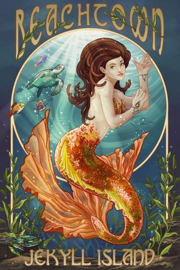 Beachtown - Jekyll Island, Georgia - Mermaid-Lantern Press-Wall Mural