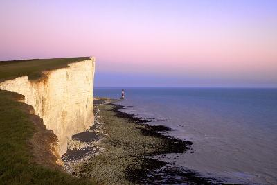 Beachy Head and Beachy Head Lighthouse at Sunset, East Sussex, England, United Kingdom, Europe-Neil Farrin-Photographic Print
