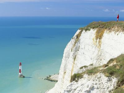 Beachy Head and Lighthouse on Chalk Cliffs, East Sussex, England, UK, Europe-John Miller-Photographic Print