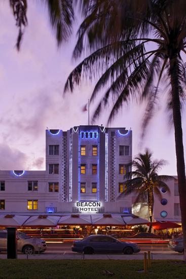 Beacon Hotel, Facade, Ocean Drive at Dusk, Miami South Beach, Art Deco District, Florida, Usa-Axel Schmies-Photographic Print