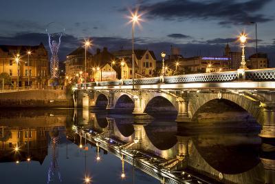 Beacon of Hope Statue, Lagan Bridge and Town of Belfast, County Antrim, Northern Ireland, Uk-Brian Jannsen-Photographic Print