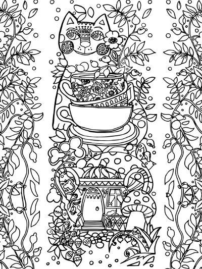 Beads from Rose Hips-2 Line Art-Oxana Zaika-Giclee Print