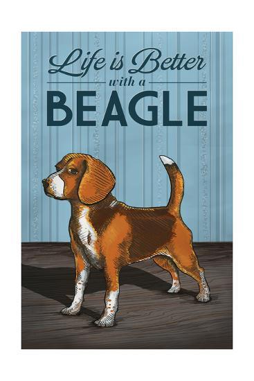 Beagle - Life is Better-Lantern Press-Art Print