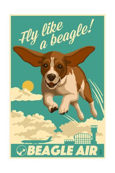 Beagle - Retro Aviation Ad-Lantern Press-Art Print