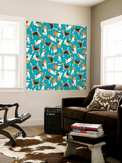 Beagle Scatter (Variant 1)--Wall Mural