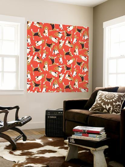 Beagle Scatter (Variant 2)--Wall Mural