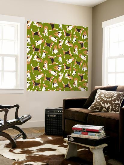 Beagle Scatter (Variant 3)--Wall Mural