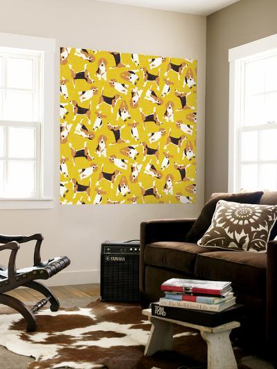 Beagle Scatter Yellow-Sharon Turner-Wall Mural