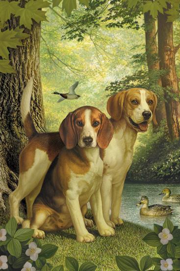 Beagles and Duck-Dan Craig-Giclee Print