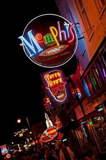 Beale Street at Night in Memphis Tennessee--Photographic Print