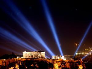 Beams of Light Illminate the Ancient Acropolis