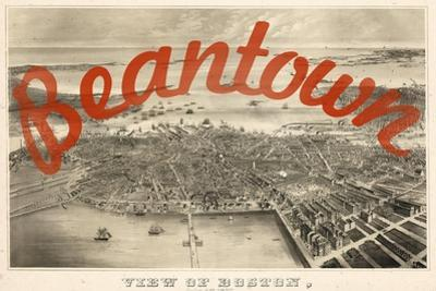 Beantown - 1870, Boston Bird's Eye View on July 4th, Massachusetts, United States Map