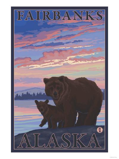 Bear and Cub, Fairbanks, Alaska-Lantern Press-Art Print
