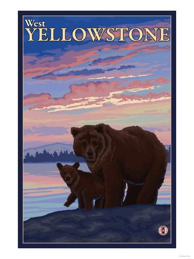 Bear and Cub, West Yellowstone, Montana-Lantern Press-Art Print