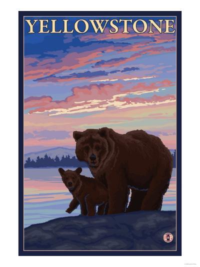 Bear and Cub, Yellowstone National Park-Lantern Press-Art Print