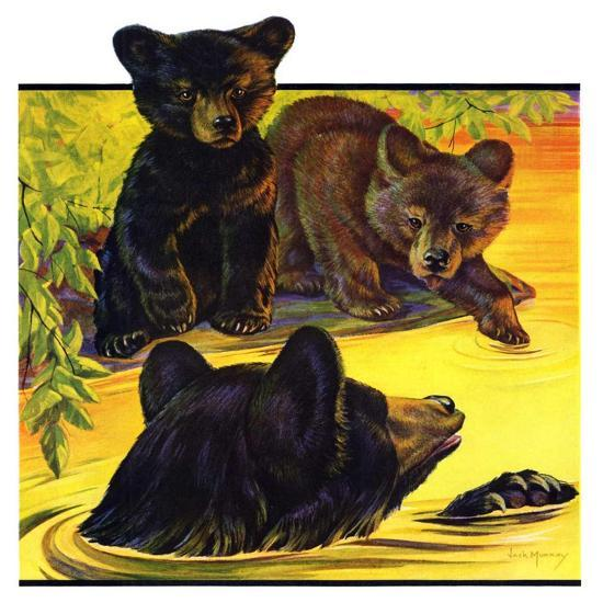 """Bear and Cubs in River,""August 25, 1934-Jack Murray-Giclee Print"
