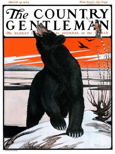 """""""Bear and Robin Welcome Spring,"""" Country Gentleman Cover, March 14, 1925-Paul Bransom-Giclee Print"""