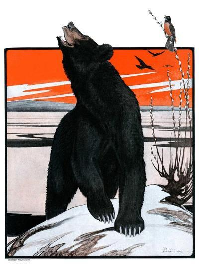 """""""Bear and Robin Welcome Spring,""""March 14, 1925-Paul Bransom-Giclee Print"""
