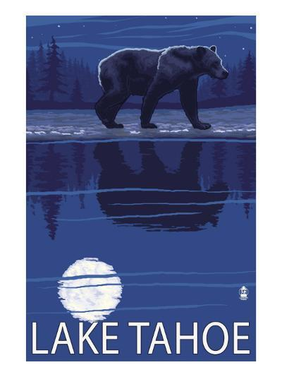 Bear at Night - Lake Tahoe, California-Lantern Press-Art Print