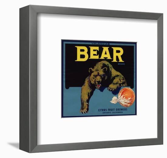Bear Brand - Ontario, California - Citrus Crate Label-Lantern Press-Framed Art Print
