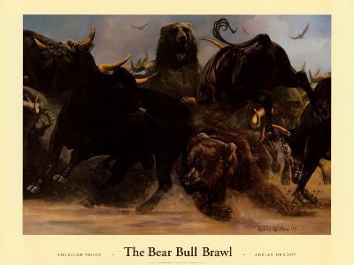 Bear Bull Brawl-Adrian De Rooy-Art Print