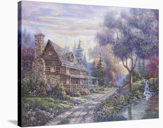 Bear Creek Lodge Stretched Canvas Print by Carl Valente | Art com