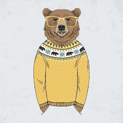 Bear Dressed up in Pullover-Olga_Angelloz-Art Print